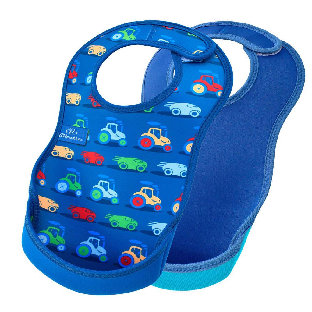Bibetta slab blauw auto - set van 2, Cars/denim blauw
