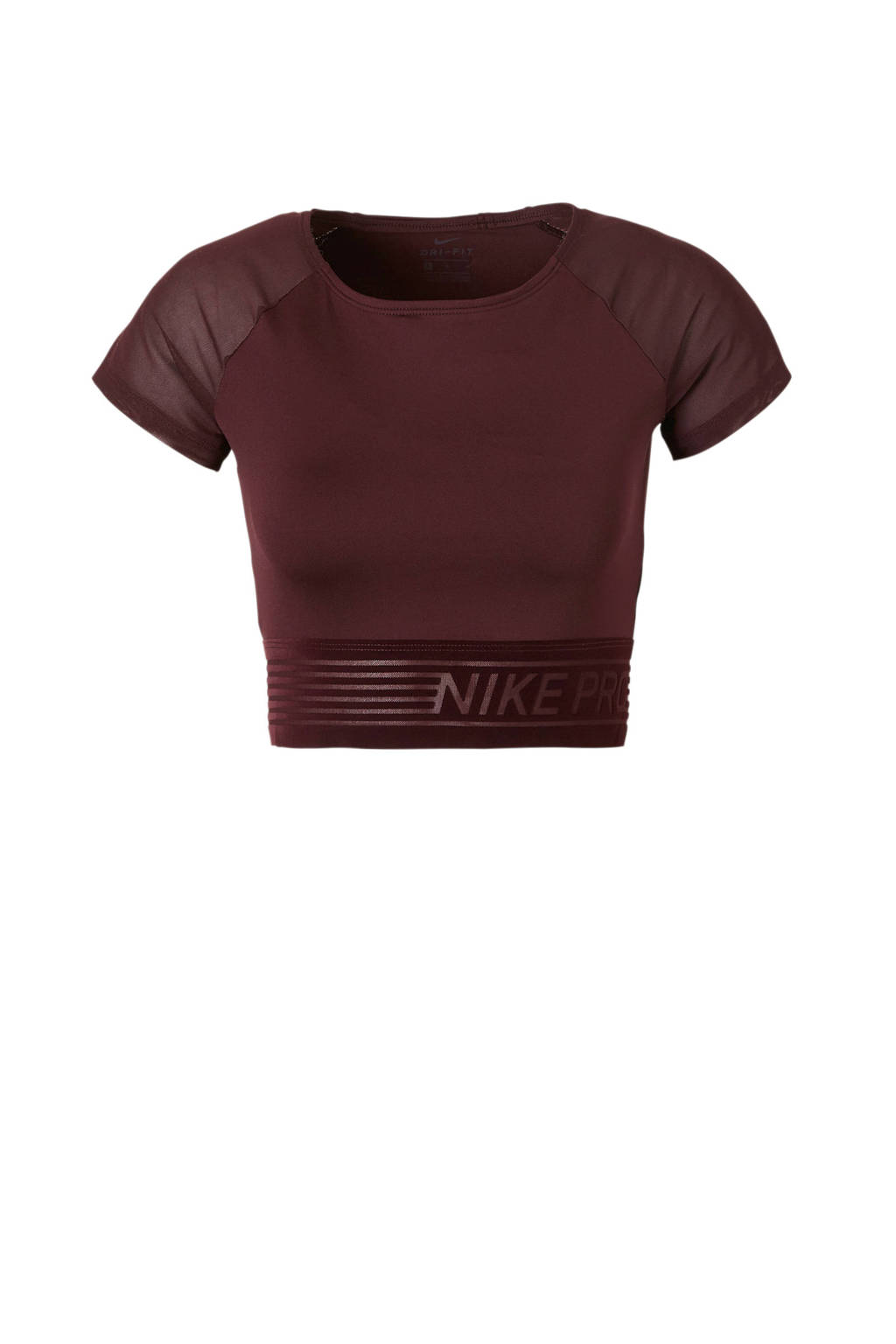 Nike cropped sport T-shirt aubergine, Aubergine