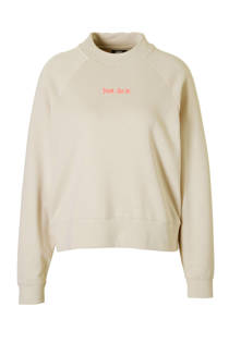 Nike loose fit sweater met tekst beige (dames)