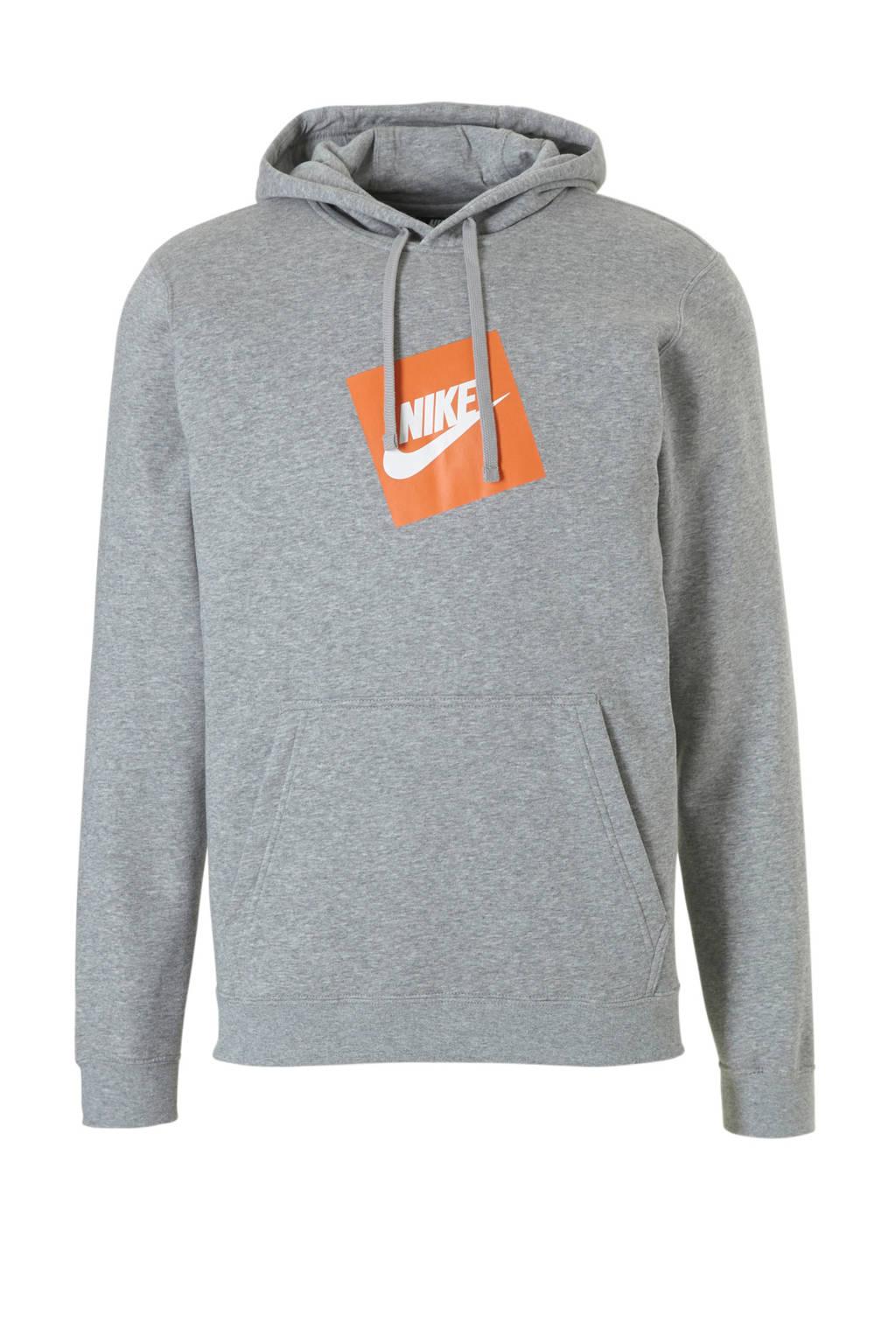 Nike   hoodie lichtgrijs, grijs melange/oranje/wit