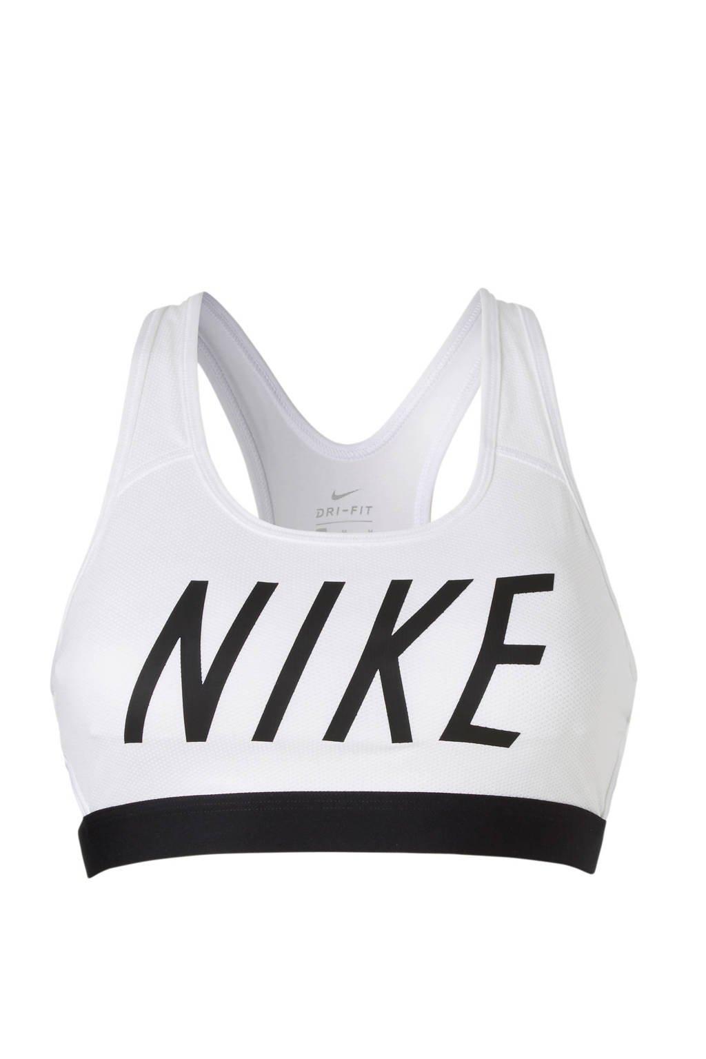 Nike Classic Logo Bra sportbh, Wit/zwart