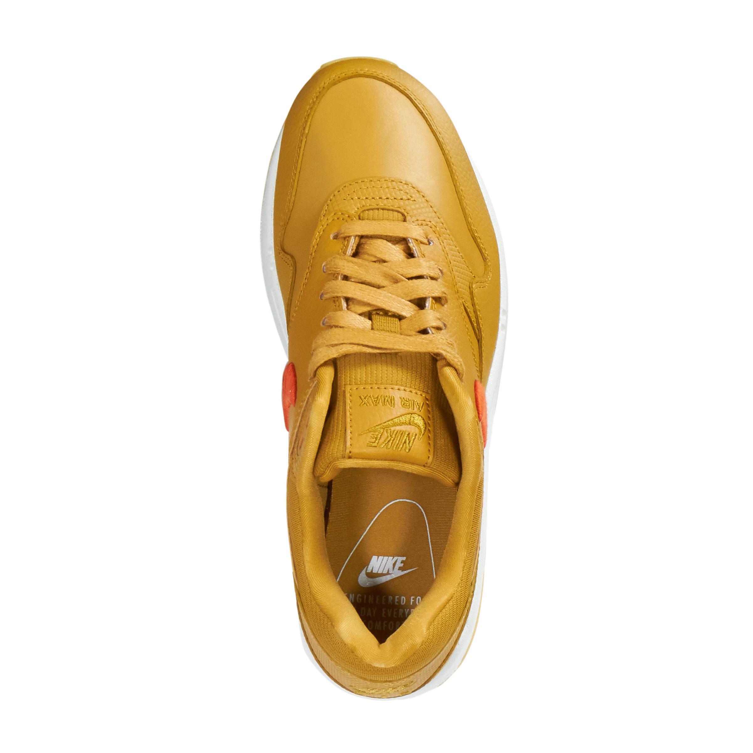 Air Max 1 Premium leren sneakers okergeel