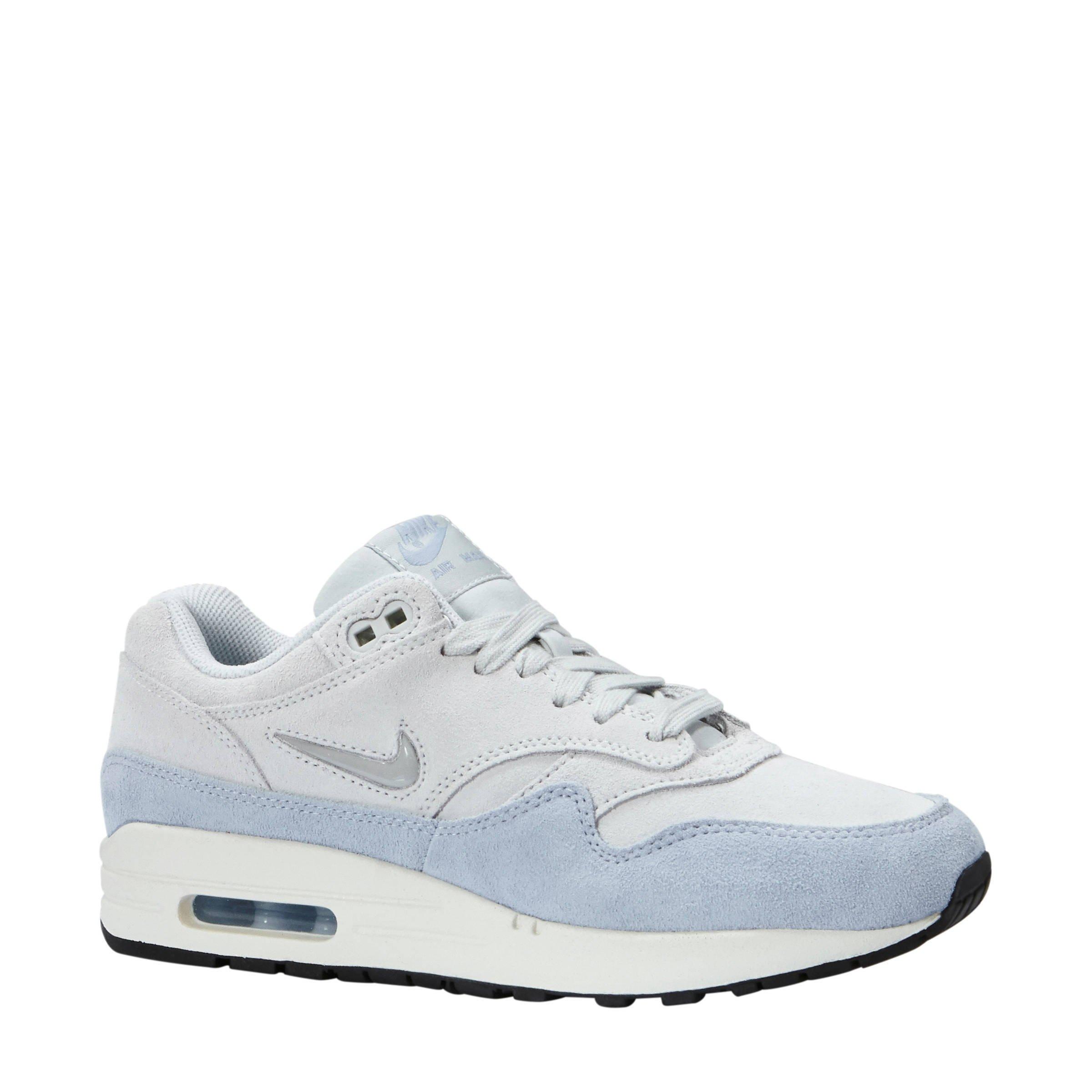 Nike Air Max 1 Premium sneakers gebroken wit/lichtblauw ...