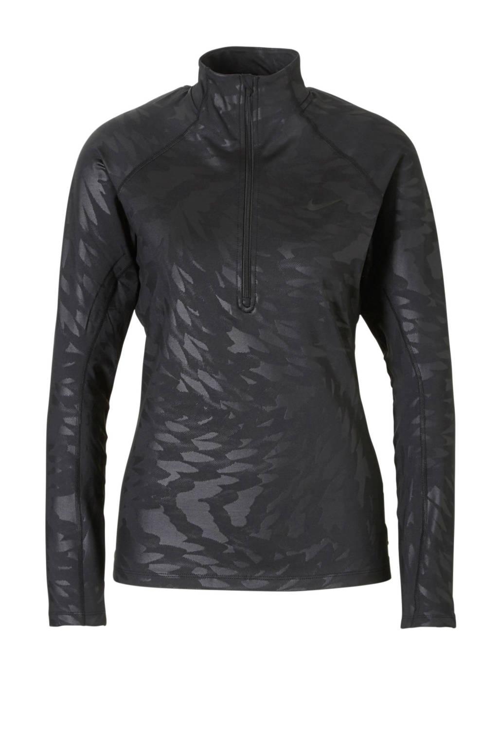 Nike slim fit sport T-shirt zwart, Zwart