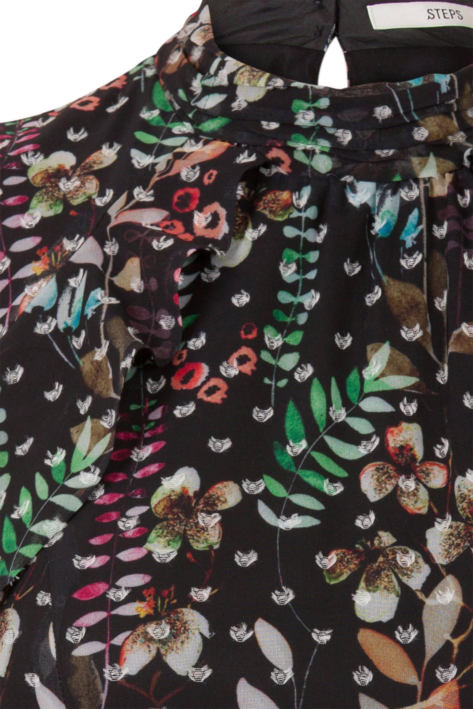 b6bc9284b16efc bloemen jurk en met ruffles wehkamp zwart Steps wEzvqdv