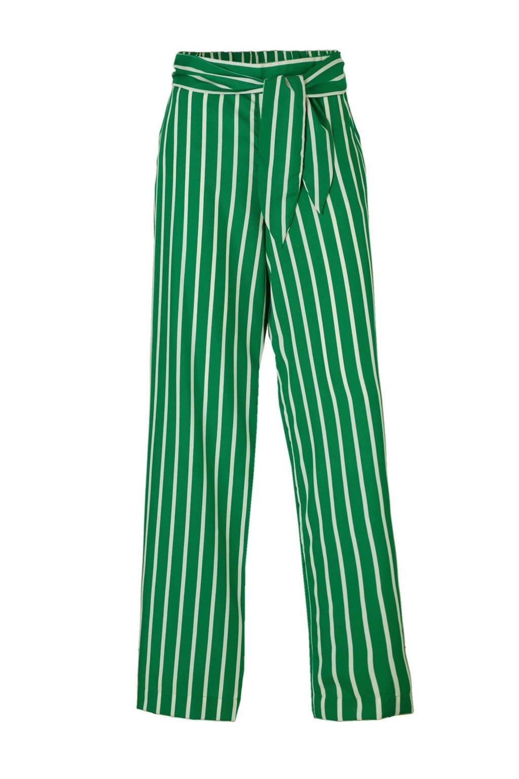 Mango gestreepte palazzo broek met hoge taille, Groen/wit