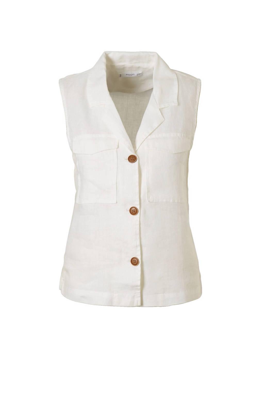 Mango linnen blouse, Gebroken wit