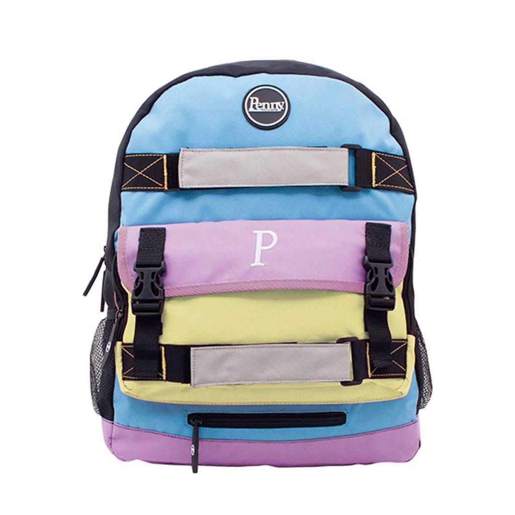 Penny Pastel pennyboard rugtas, Blauw/roze/geel