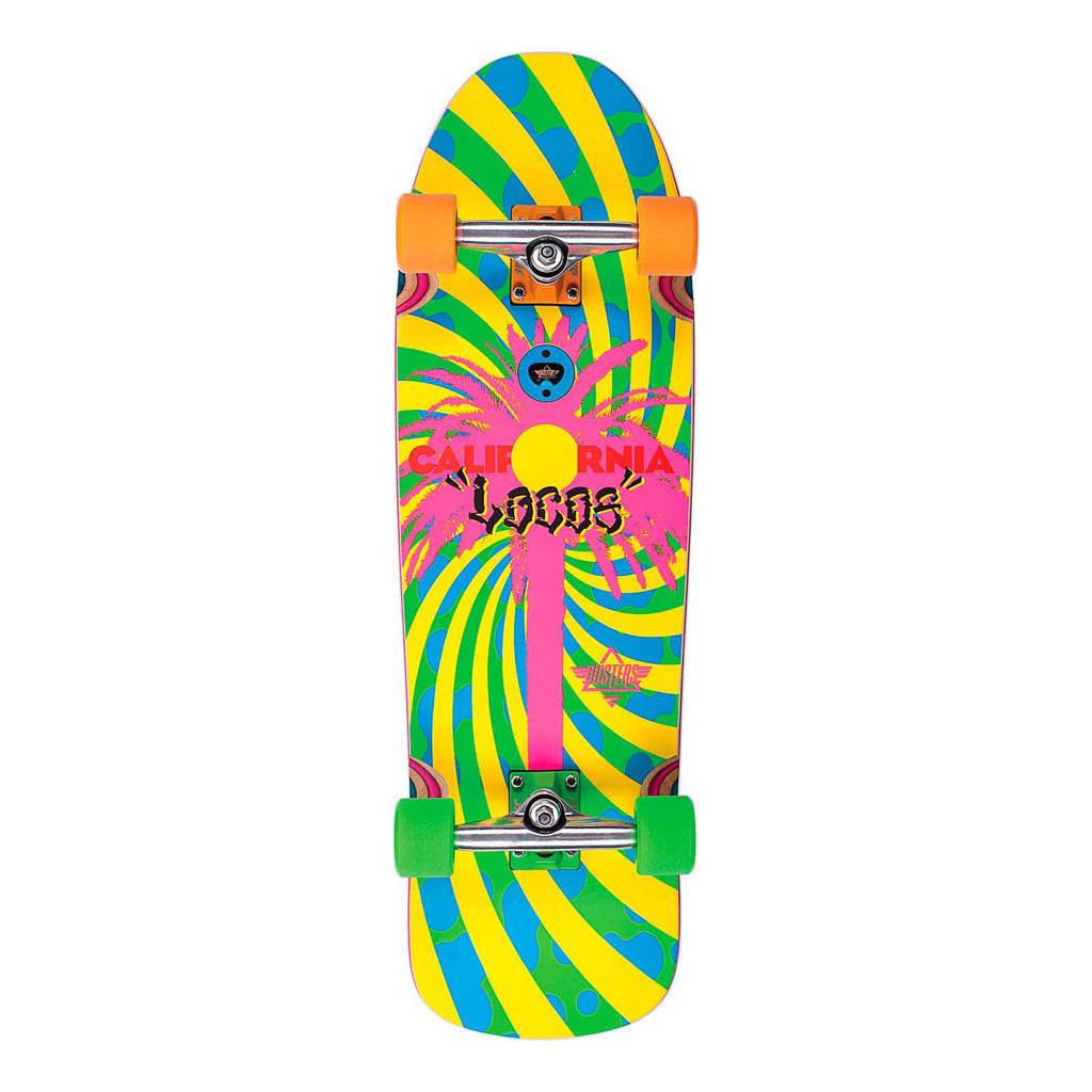 Dusters California Locos cruiser skateboard, Multicolor: Geel/Roze/Blauw