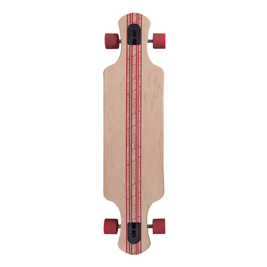 Saterno longboard Forest Leaf donker, Lichtbruin/rood