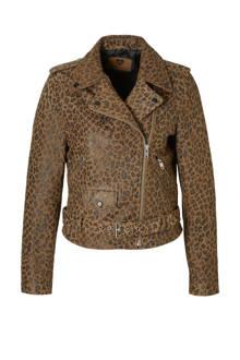 Cheetah suede jas met panterprint
