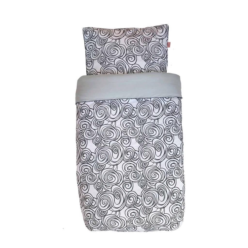 Witlof for kids katoenen Moon Tuck-Inn® dekbedovertrek 120x150 cm zwart-wit-lichtgrijs junior