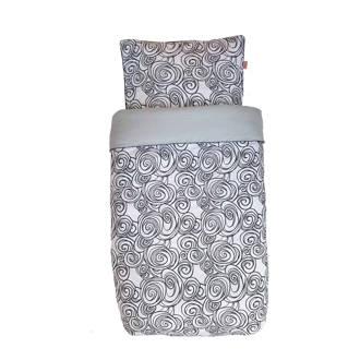 katoenen Moon Tuck-Inn® dekbedovertrek 120x150 cm zwart-wit-lichtgrijs junior