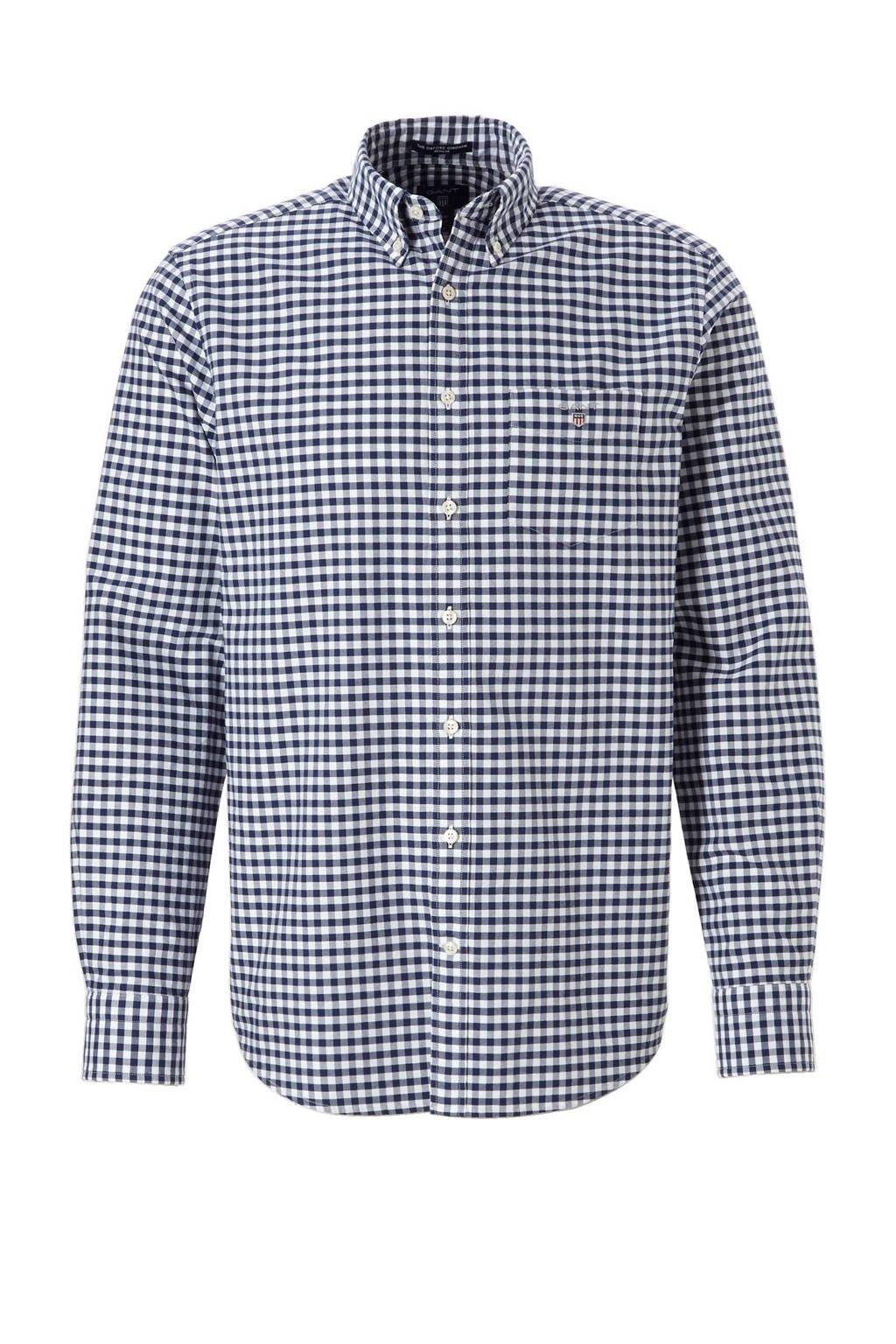 GANT regular fit overhemd, Donkerblauw/wit