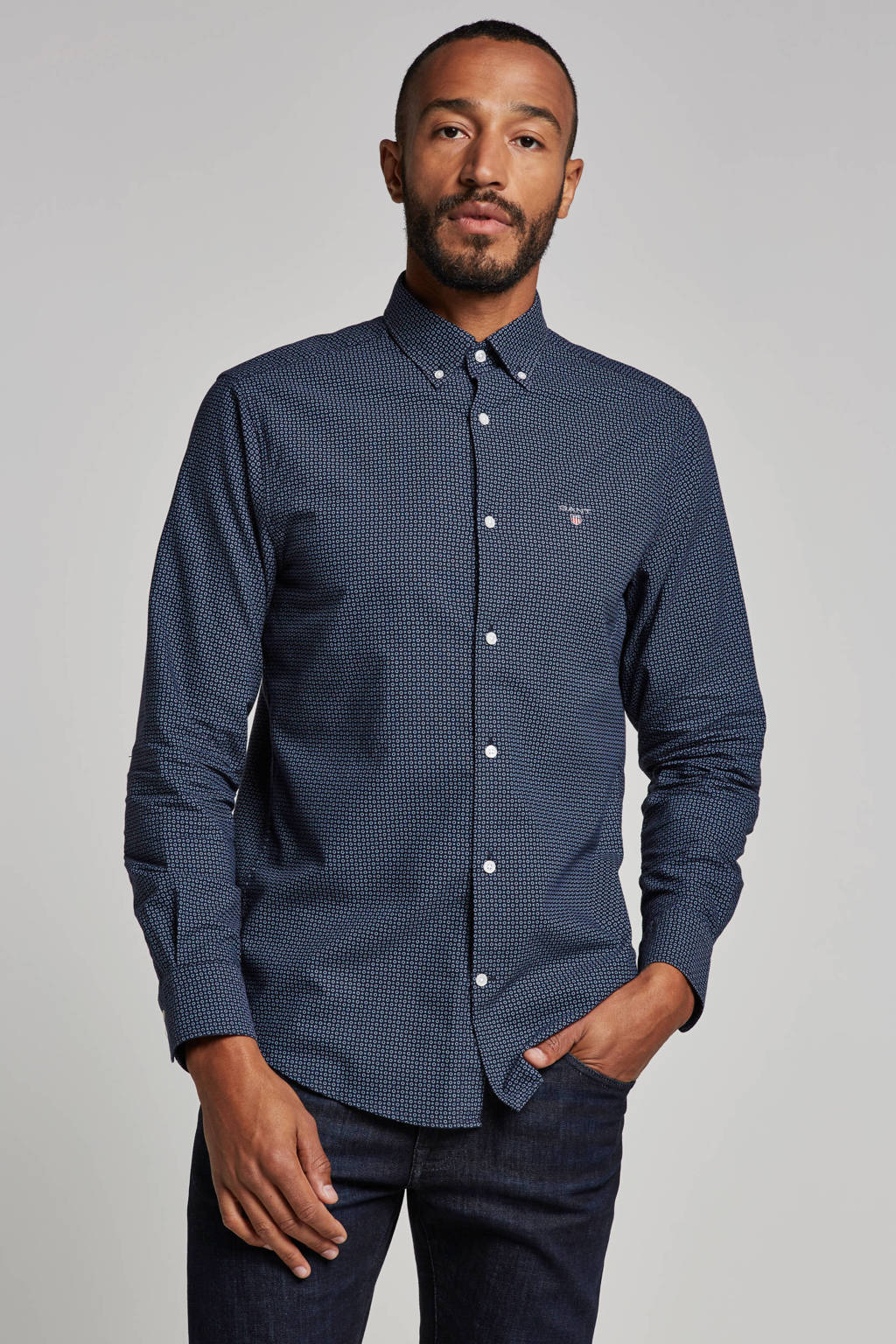 GANT regular fit overhemd, Donkerblauw/rood