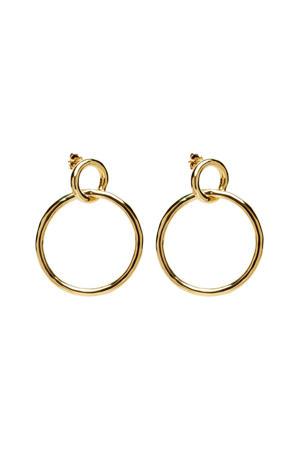 zilveren oorstekers  goudkleurig - AR01-037-U
