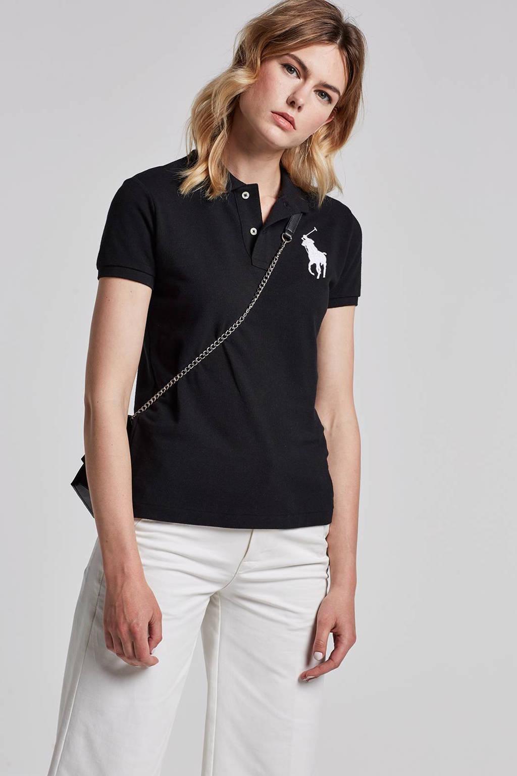 POLO Ralph Lauren skinny fit polo zwart, Zwart/wit