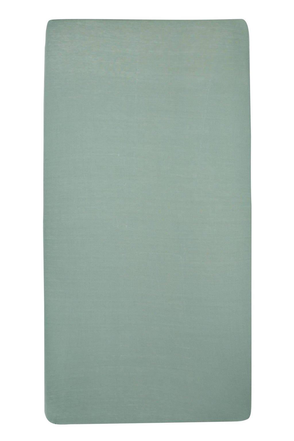 Meyco jersey hoeslaken ledikant 60x120 cm Stone green, Stone Green