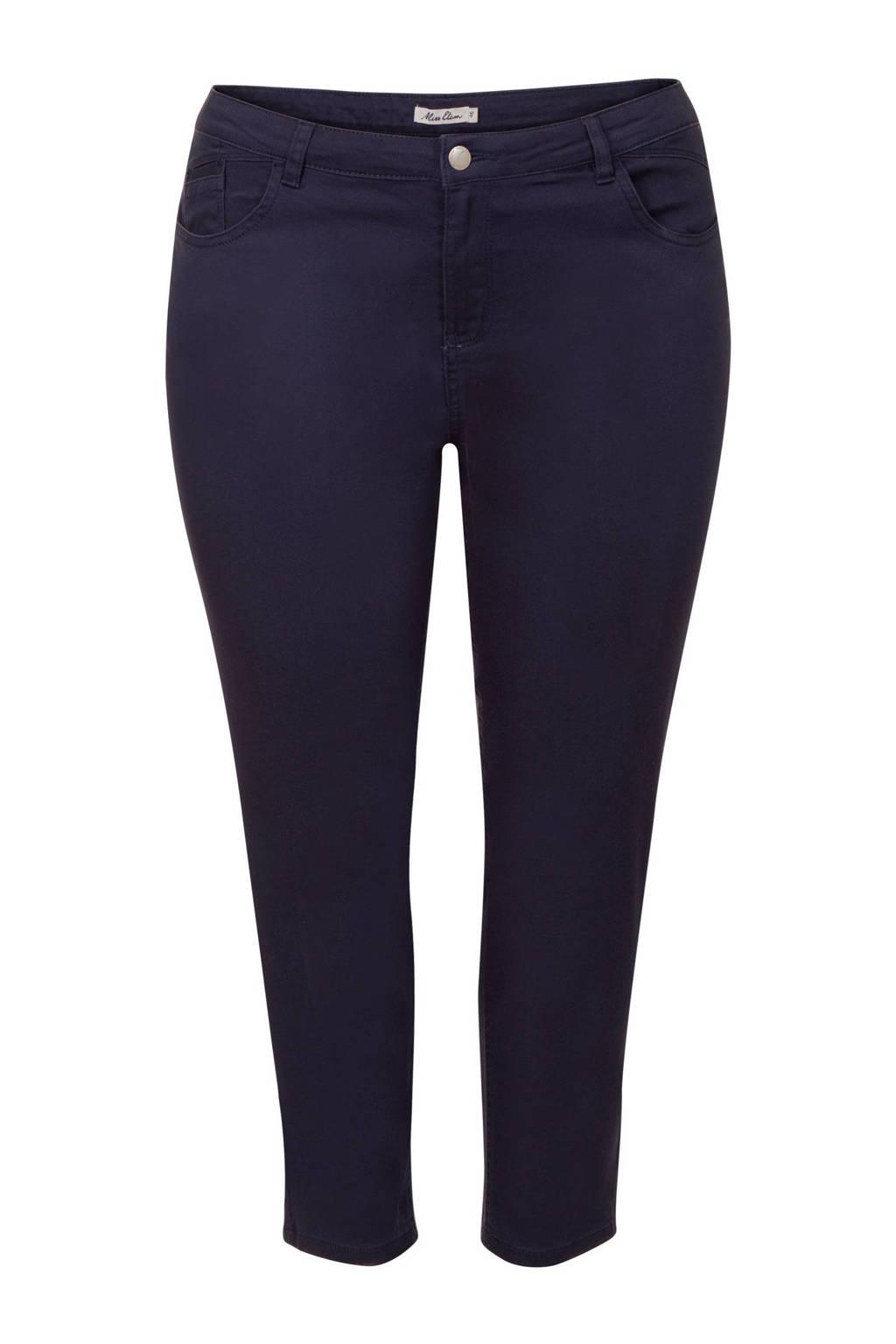 Miss Etam Plus cropped slim fit broek donkerblauw, Donkerblauw