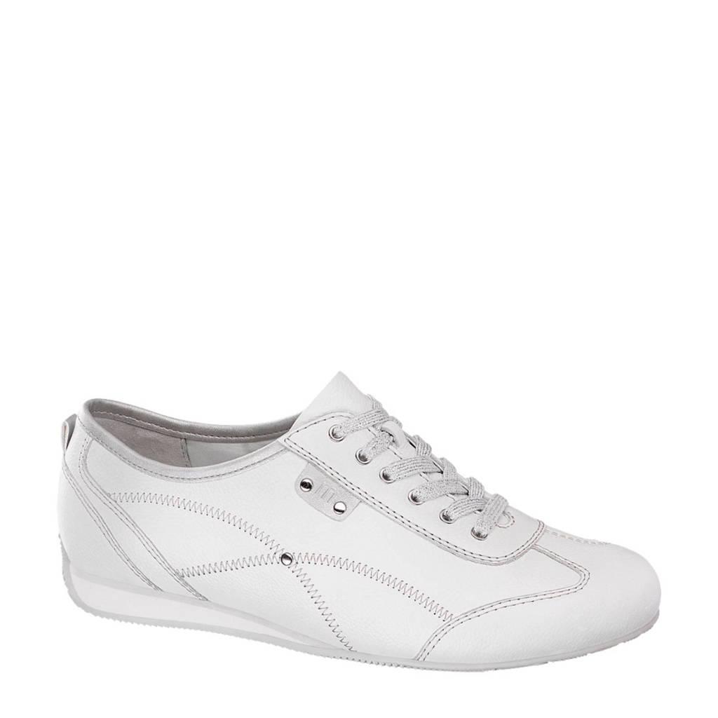 vanHaren Medicus  leren sneakers, Wit/zilver