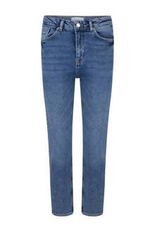 cropped straight fit jeans met hoge taille blauw