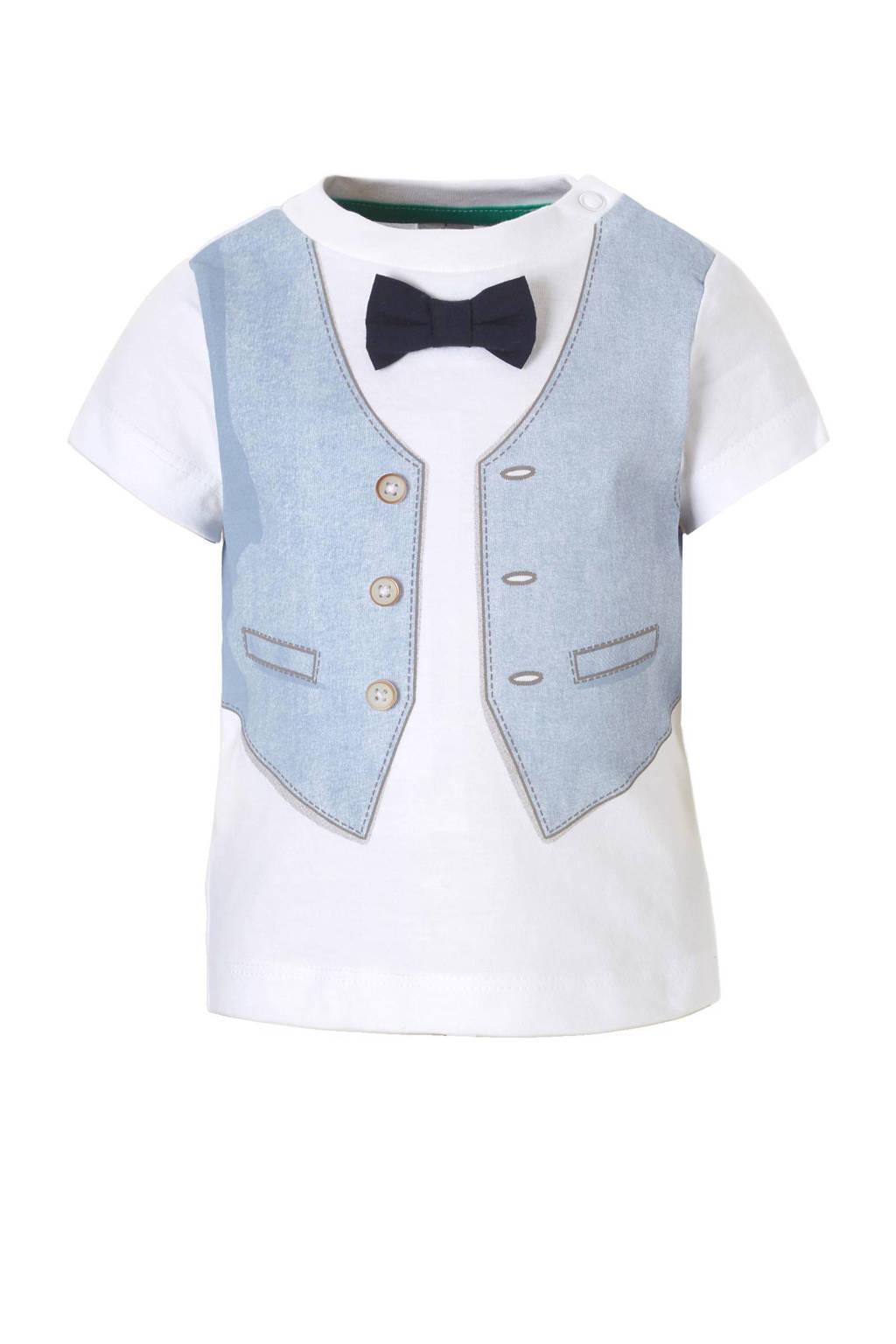 C&A Baby Club T-shirt met vlinderstrik, Wit/blauw