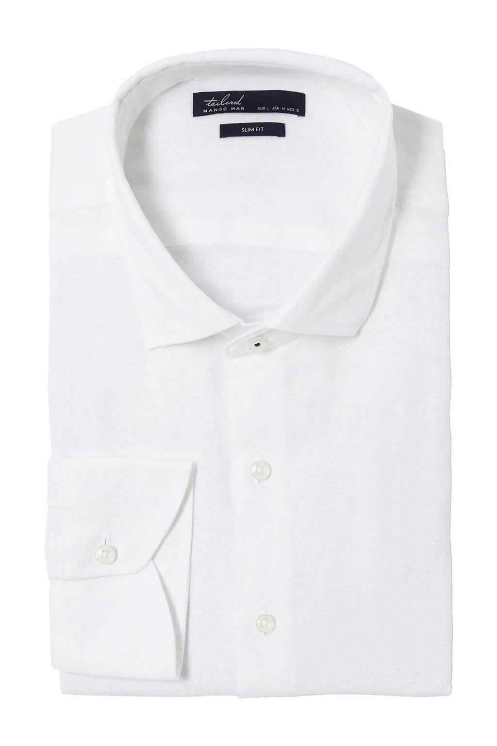 Linnen Overhemd Wit.Mango Man Slim Fit Linnen Overhemd Wit Wehkamp