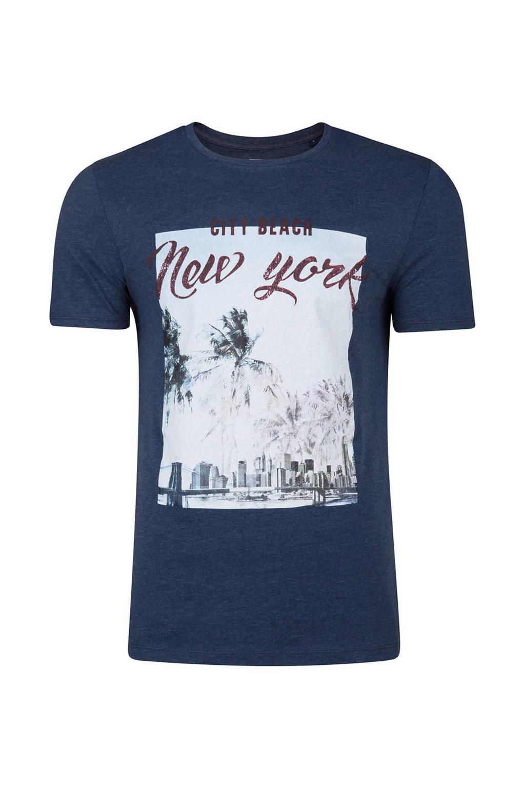 WE Fashion slim fit T-shirt met print donkerblauw, Donkerblauw