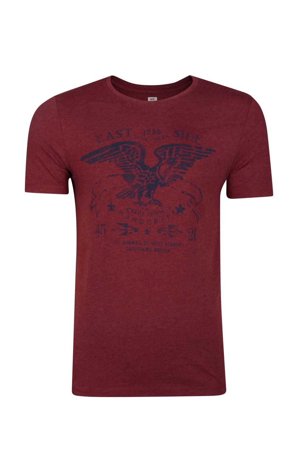 WE Fashion slim fit T-shirt met print donkerrood, Donkerrood
