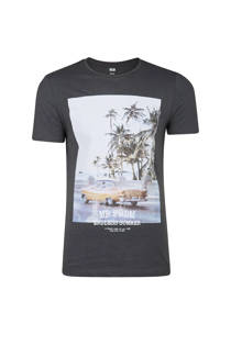 WE Fashion slim fit T-shirt met print antraciet