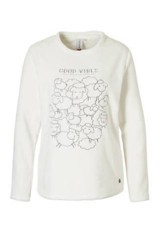 fleece lounge sweater met printopdruk wit
