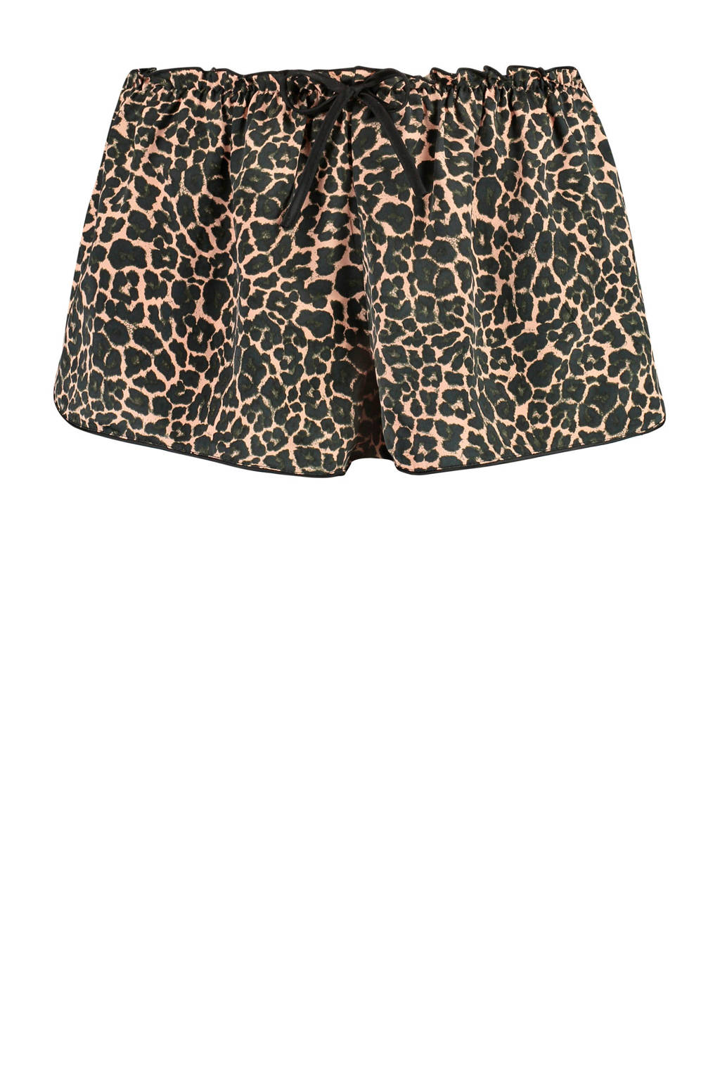 Hunkemöller satijnen pyjamashort met luipaard dessin, Beige/zwart