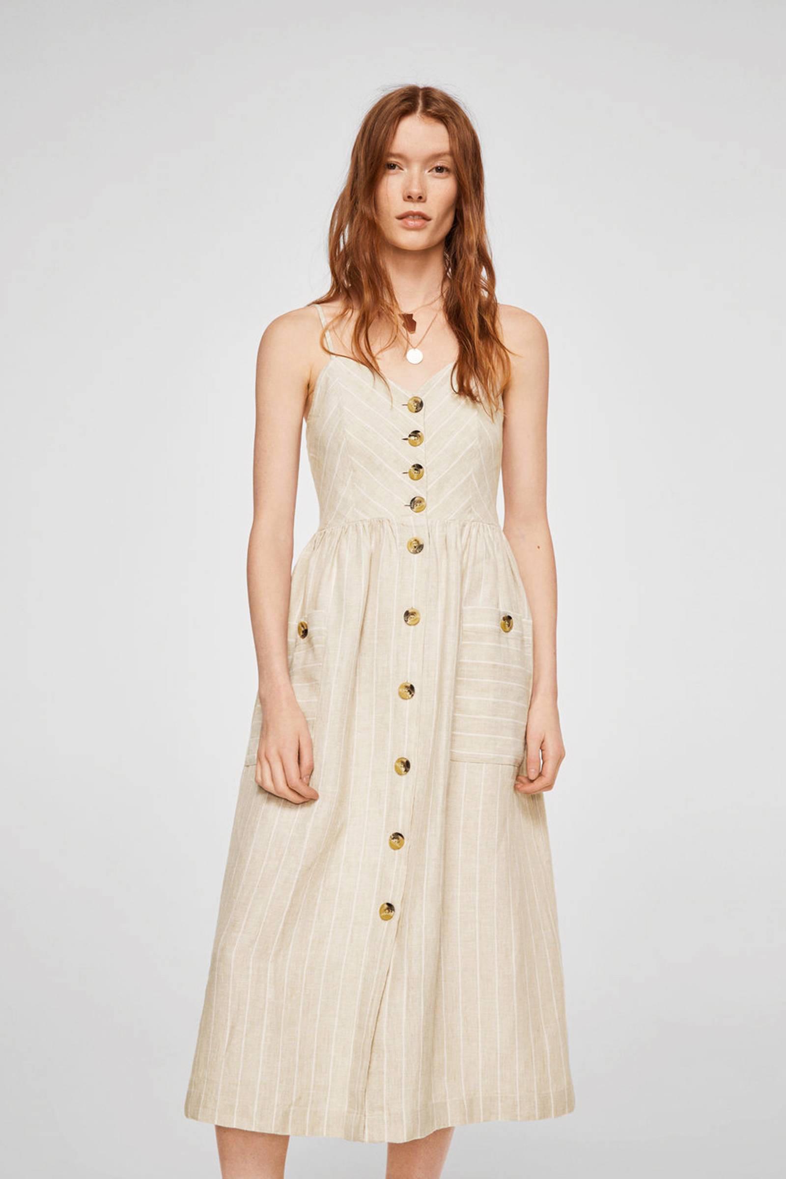 98178e6fc98401 Mango linnen jurk met strepen