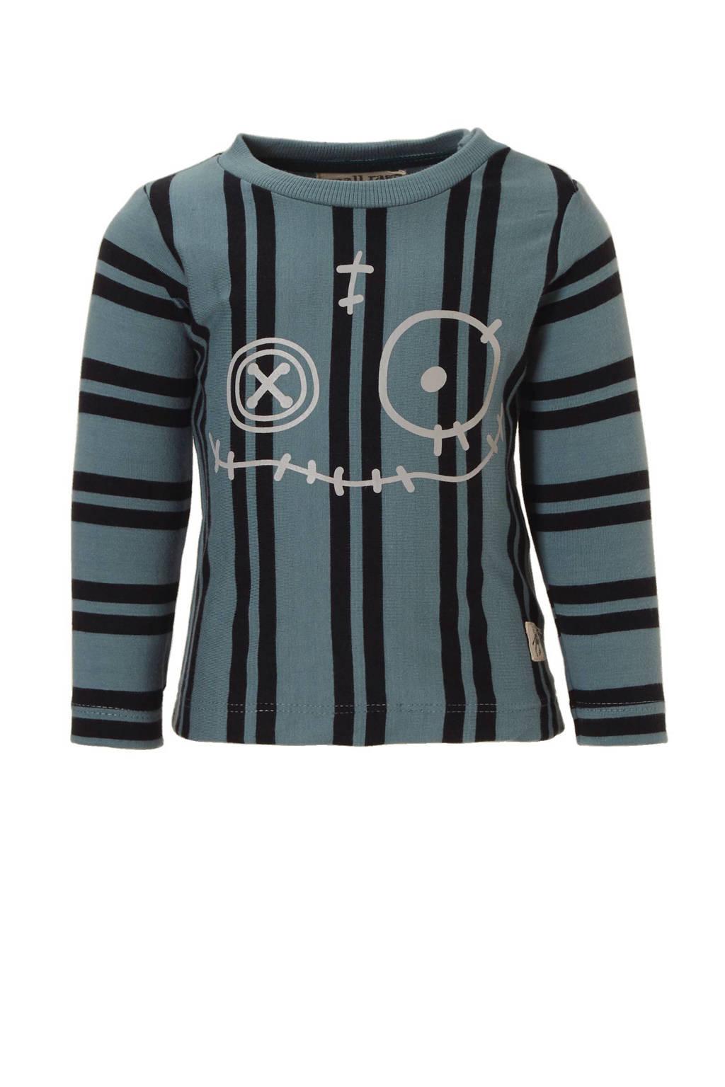 Small Rags T-shirt Hubert, Grijsblauw/ zwart/ grijs