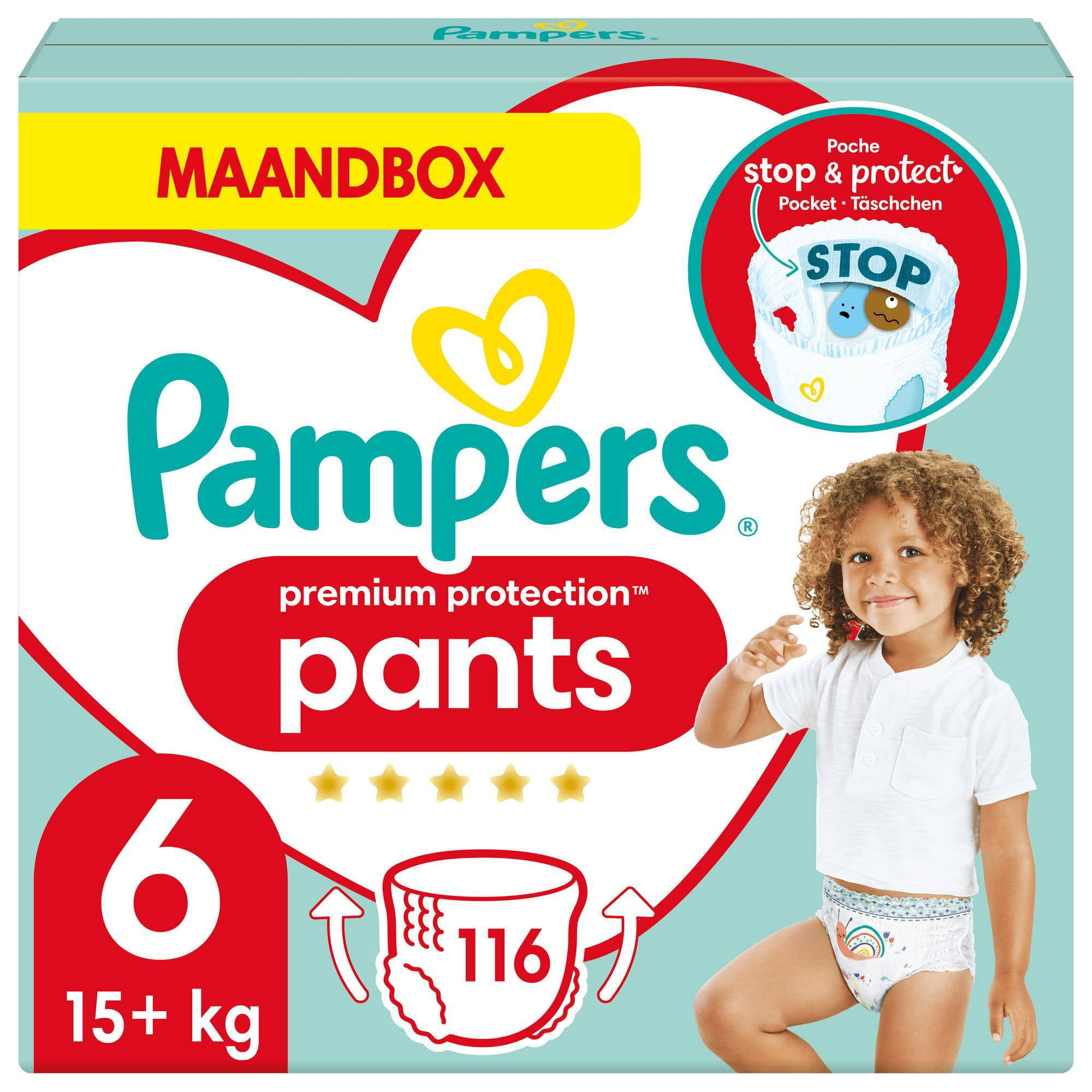 Pampers Premium Protection Pants maandbox maat 6 (15 kg+) 116 luierbroekjes