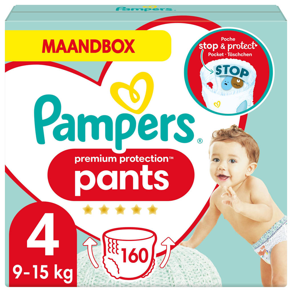 Pampers Premium Protection Pants maandbox maat 4  (9kg-15 kg) 160 luierbroekjes, 4 (9-15 kg)