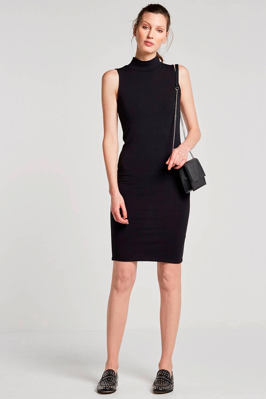 Modström Theo basic jurk met col zwart, Zwart
