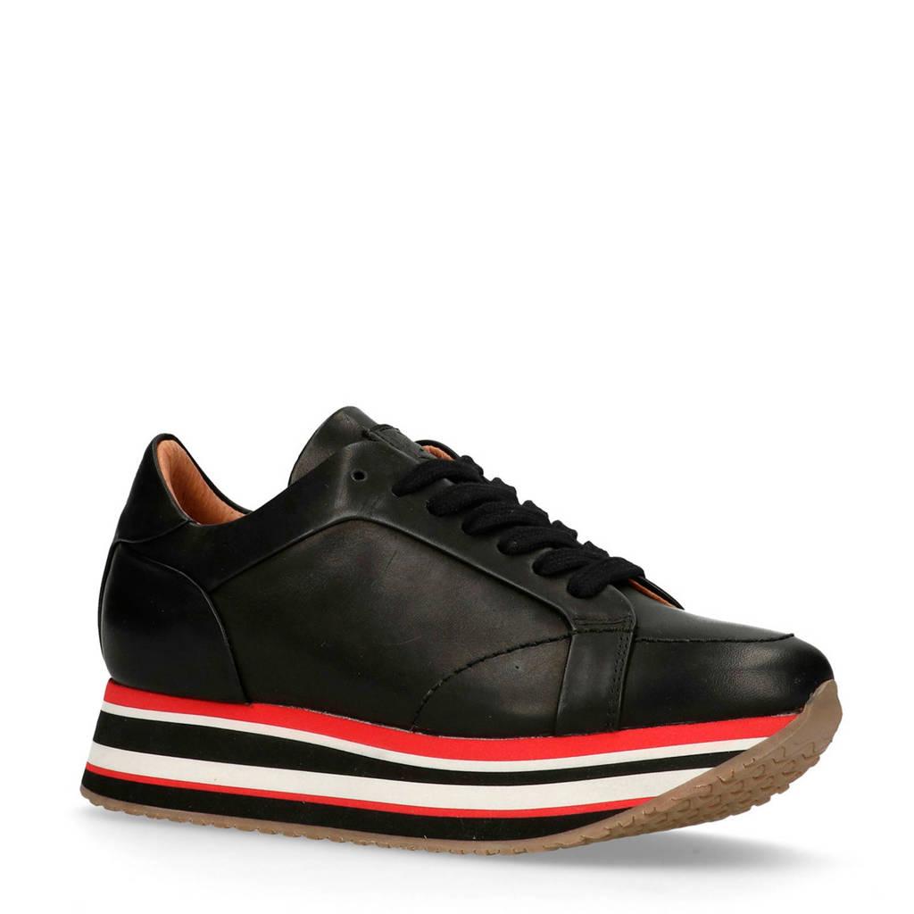 Sacha  sneakers leer zwart, Zwart