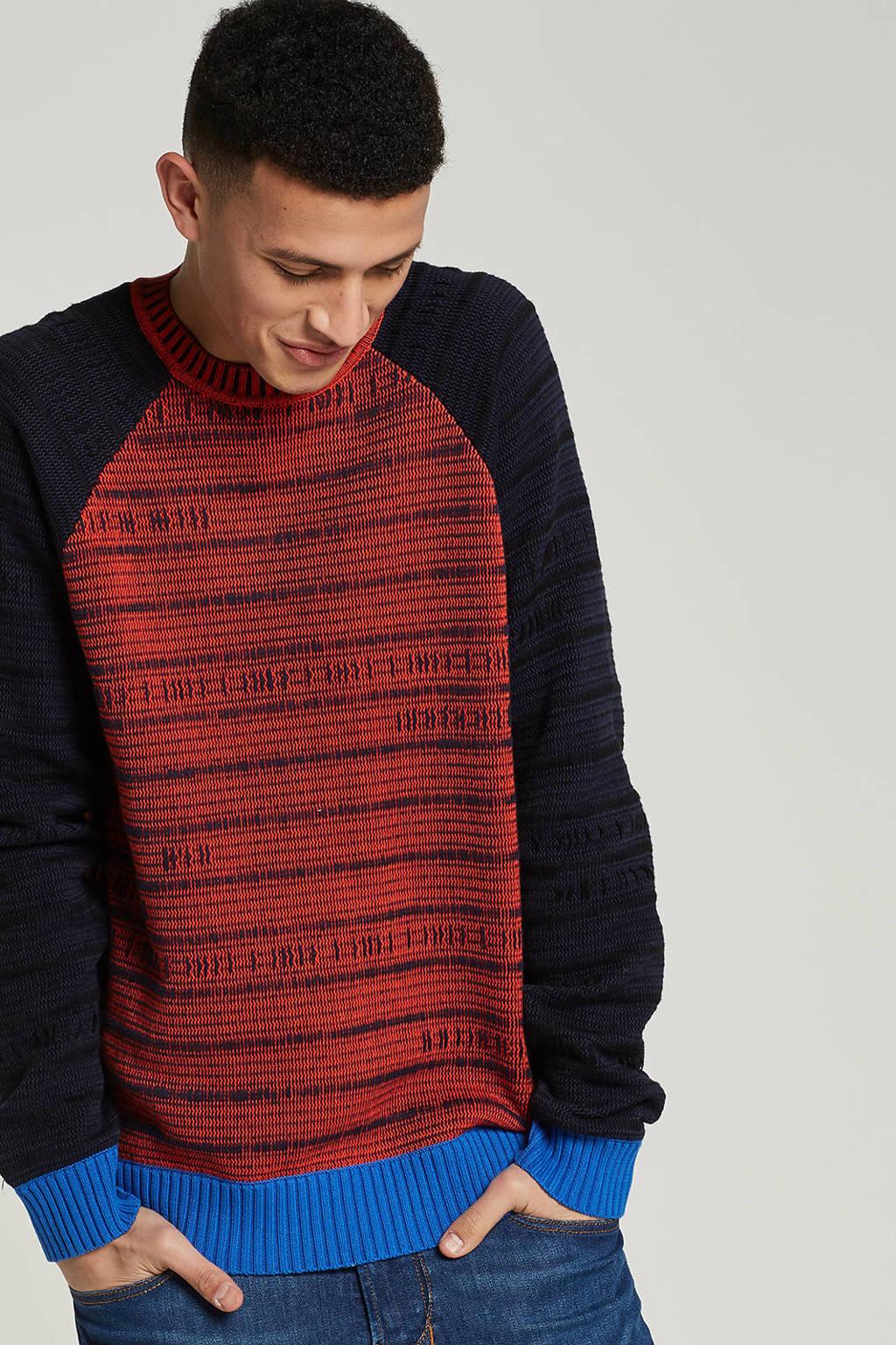 Diesel Jacky trui, Donkerblauw/blauw/rood