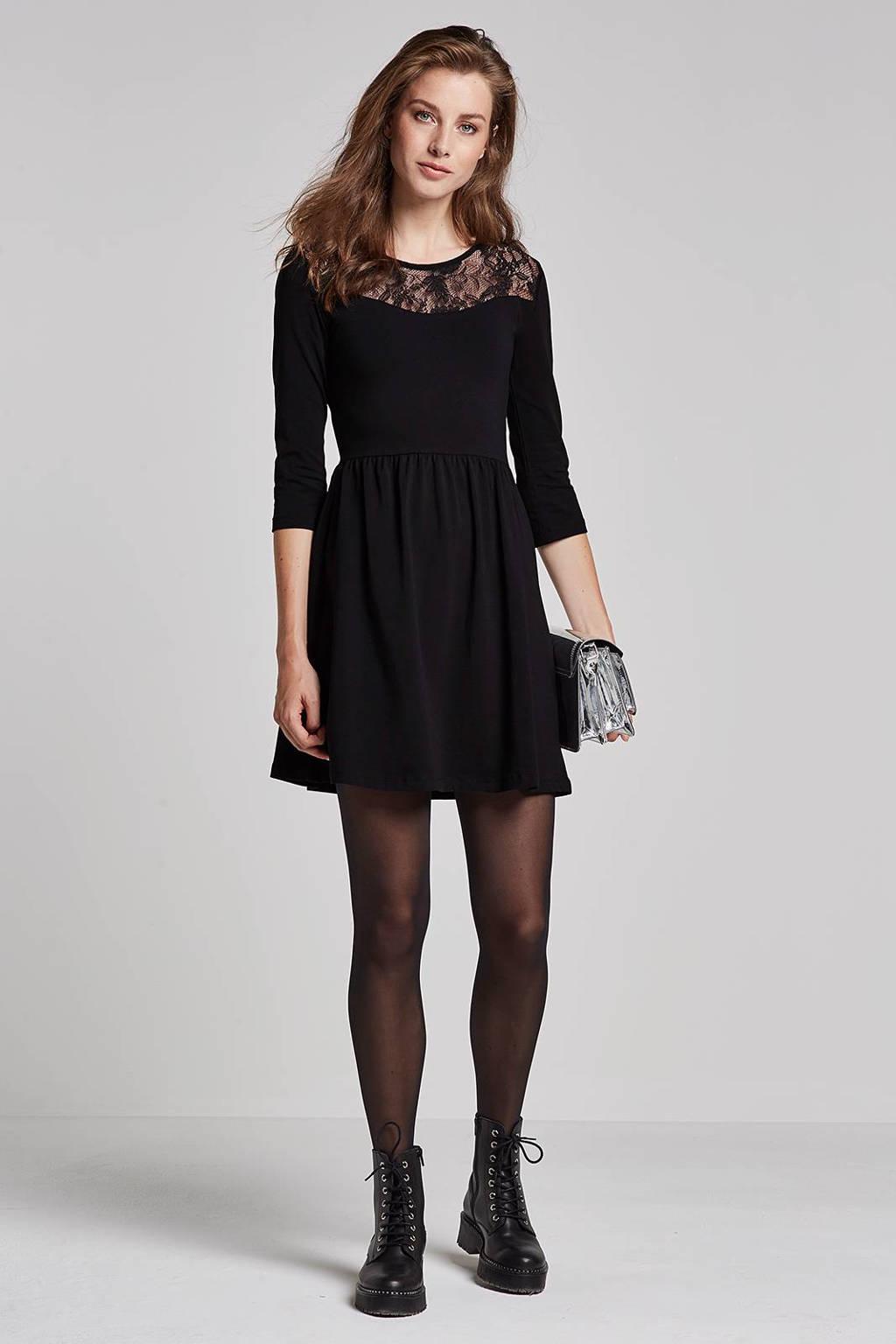 ONLY jurk met kant, Zwart
