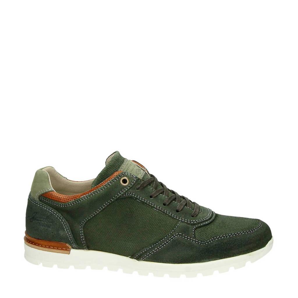 Nelson  suède sneakers, Olijfgroen/cognac/wit