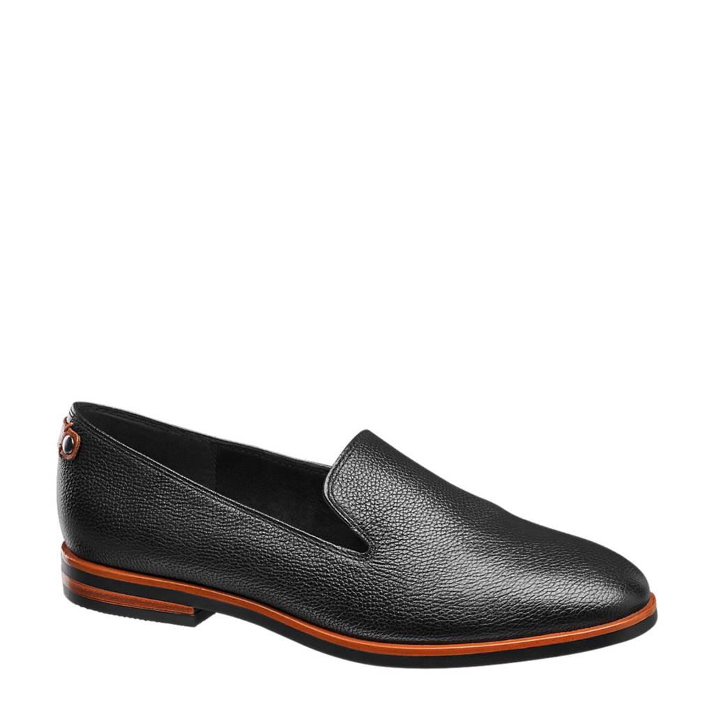 vanHaren Medicus leren loafers, Zwart