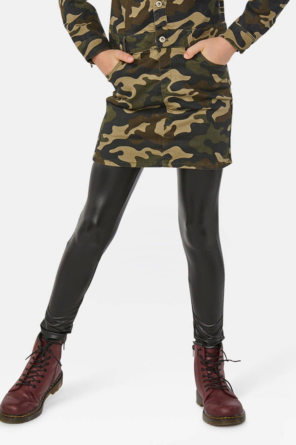 WE Fashion imitatieleren legging zwart, Zwart