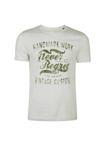 WE Fashion slim fit T-shirt met tekst mintgroen