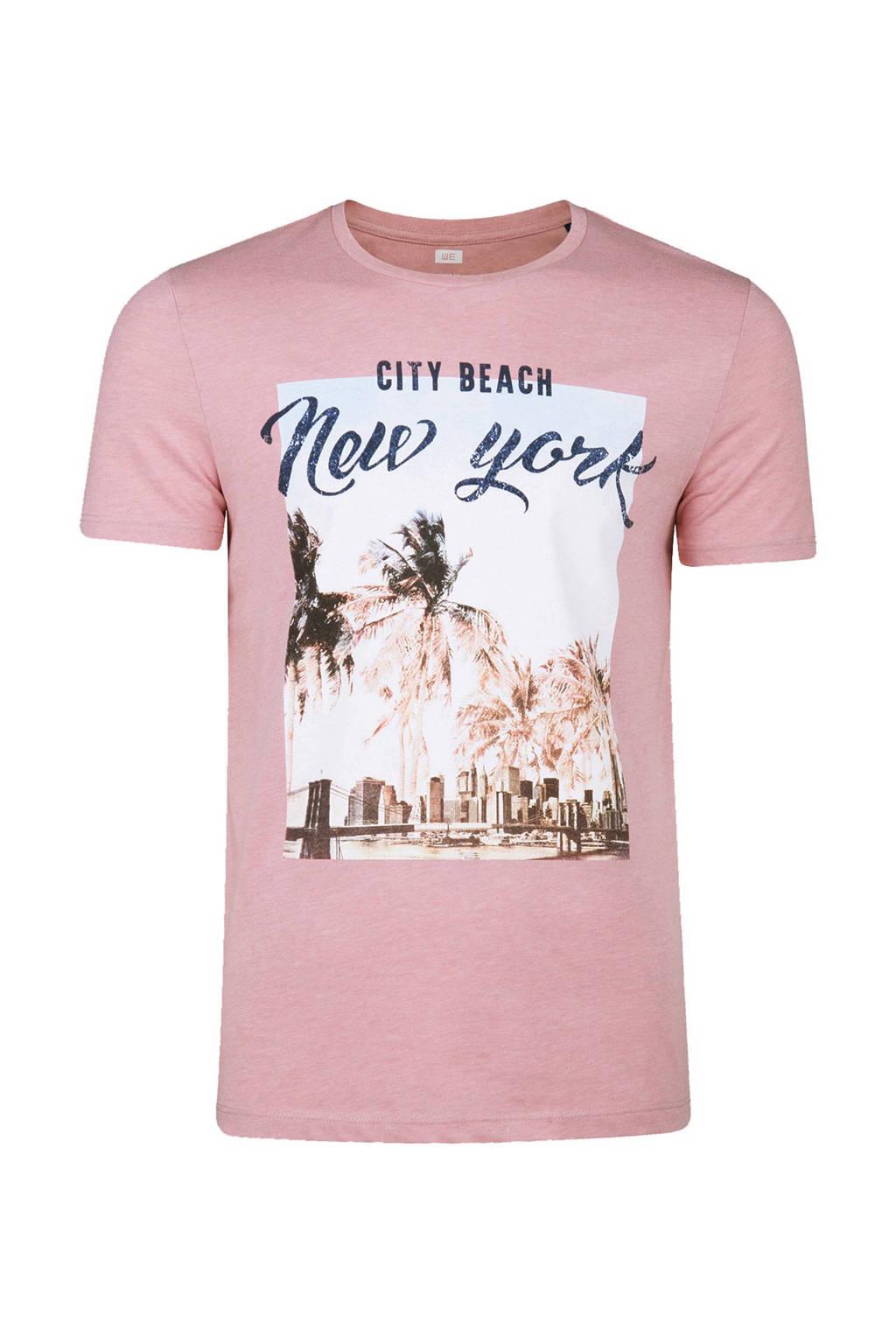 WE Fashion slim fit T-shirt met print roze, Lichtroze