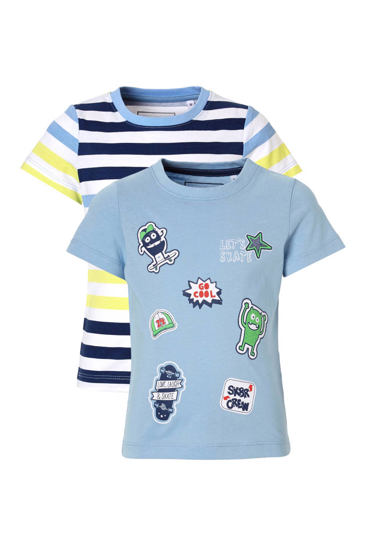 C&A Palomino T-shirt (set van 2), Lichtblauw/wit/marine/groen/rood/geel
