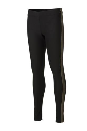 legging met fluwelen zij-streep zwart