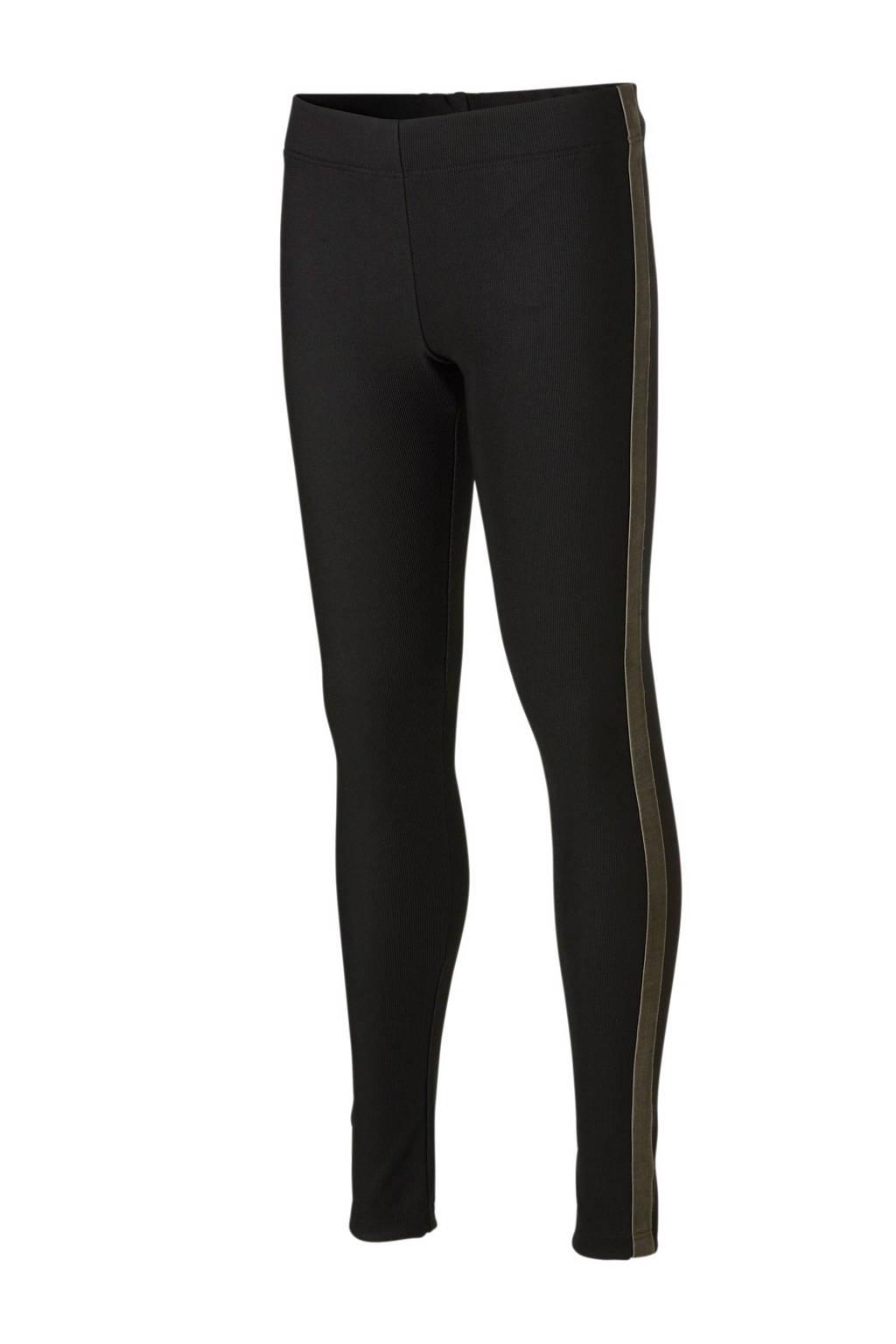 Geisha legging met fluwelen zij-streep zwart, Zwart
