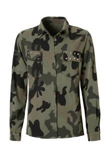 blouse met camouflageprint kaki