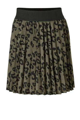 plissé rok met panterprint kaki